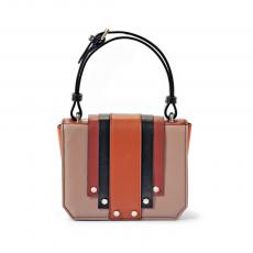 LILY BIG Old Rose and Brick with Stripes and Studs Calfskin Shoulder Bag