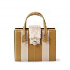 VALENTINE FUR Mustard and Light  Rose with Mink Nappa Leather HandBag