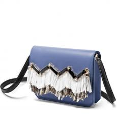 GRACE FRINGE Blue with Embroidered Stone and Rafia Calfskin Shoulder Bag