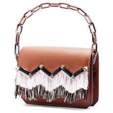 GRACE FRINGE Caramel with Embroidered Stone and Rafia Calfskin Shoulder Bag