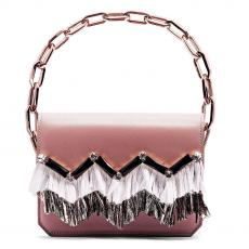 GRACE FRINGE Rose with Embroidered Stone and Rafia Calfskin Shoulder Bag