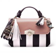 JEWEL CHARMS Rose Black and White Nappa Leather Handbag
