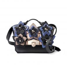 JEWEL FLORA Black with Mink and Flowers Nappa Leather HandBag