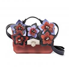 JEWEL FLORA Brick with Mink and Flowers Nappa Leather Mini HandBag