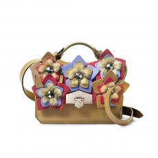 JEWEL FLORA Mustard with Mink and Flowers Nappa Leather HandBag