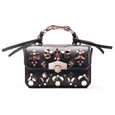 JEWEL RIO Black with Glass Stones and Paillettes Nappa Leather Handbag