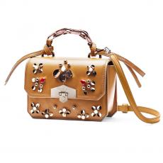 JEWEL RIO Mustard with Glass Stones and Paillettes Nappa Leather Mini Handbag
