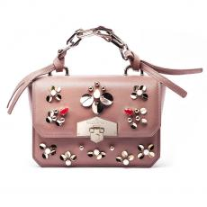JEWEL RIO Rose with Glass Stones and Paillettes Nappa Leather Mini Handbag