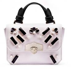 JEWEL STICK White with Black Glass Stones and Paillettes Nappa Leather Mini Handbag