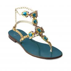 TURQUOISE High with Azure and Yellow Crystals Embellished Sandals