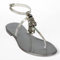 IRIS Silver Crystals-embellished leather sandals