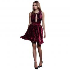 LANA Bordeaux Short Crushed Velvet Dress