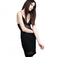 EVOCATIVE Black Lace and Wool Crêpe Short Dress