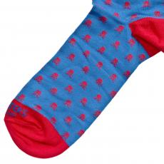 Electric Blue with Red Skulls Socks