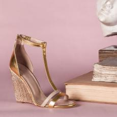 MAIA AUREA Gold Nappa Leather with Cabochon Stones Wedge Sandals