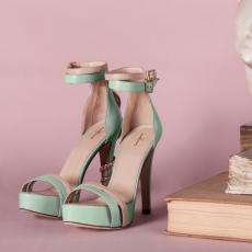 REPTILIA Mint Green Nappa Leather Pumps with Golden Brass Snake and Swarovsky