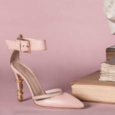EDEN Nude Nappa Leather Pumps with Golden Brass Snake and Swarovsky