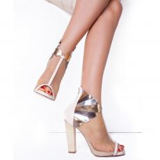 RHEA NUDE Leather and Net Pumps