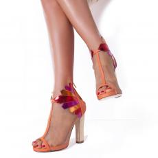 RHEA ORANGE Leather and Net Pumps