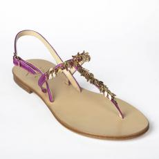 LEAVES Bouganville Crystals-embellished leather sandals