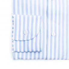 RIVIERA DI CHIAIA Azure Stripes Double Twisted Cotton Shirt