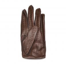 Chocolate with Dark Brown Stitching Leather Driving Gloves