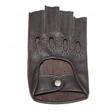 Dark Brown Leather Fingerless Driving Gloves