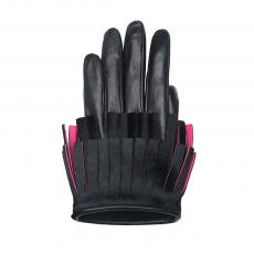 Black and Pink Lambskin and Calfskin Gloves