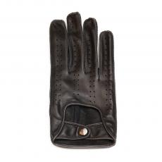 Black with Grey Handsewn Stitching Leather Driving Gloves