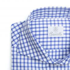 BUSINESS IN VESPA Blue Gingham Check Twill Double Twisted Cotton Shirt