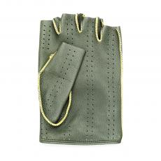 Olive Green Leather with Yellow stitching Fingerless Driving Gloves