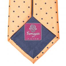Orange with Brown Polka Dots Silk Tie