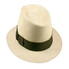 LOJA Classic Toquilla Straw Panama Hat with Green Ribbon