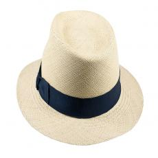 LOJA Classic Toquilla Straw Panama Hat with Blue Ribbon