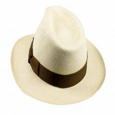 QUITO Classic Toquilla Straw Panama Hat with Tobacco Ribbon
