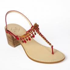 PIMPERNEL Crystal-embellished red sandals
