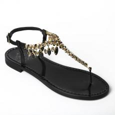 PRIMROSE Black Crystal-embellished satin sandals
