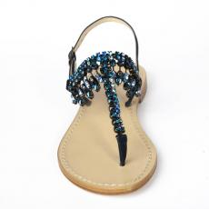 PRIMROSE Blue Crystal-embellished satin sandals