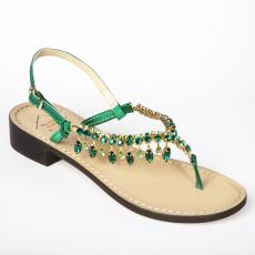 PRIMROSE Green Crystal-embellished satin sandals