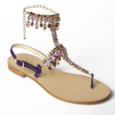 PRIMROSE Violet Crystal-embellished satin sandals