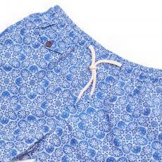 PUNTA ALA White and Blue Elastic Microfiber Swimwear