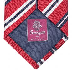 Red, Blue and White Stripes Silk Tie