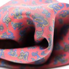 Red with Blue Paisley Silk Handkerchief