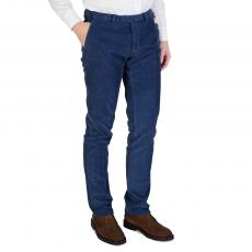Blue Grained Cotton Regular-Fit Trousers