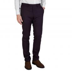 Burgundy Wool Regular-Fit Trousers