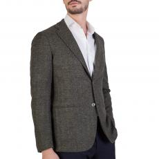 Herringbone Green Wool-Blend Slim-Fit Blazer