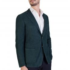 Melange Dark Green Wool-Blend Slim-Fit Blazer