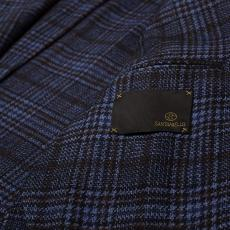 Twill Blue and Brown Wool-Cotton Blend Slim-Fit Blazer