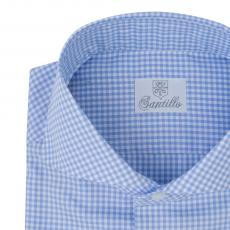 IN CADORNA Azure Gingham Pin Point Shirt