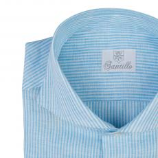 RELEVANCE OF COLOURS Turquoise Stripes Linen Shirt